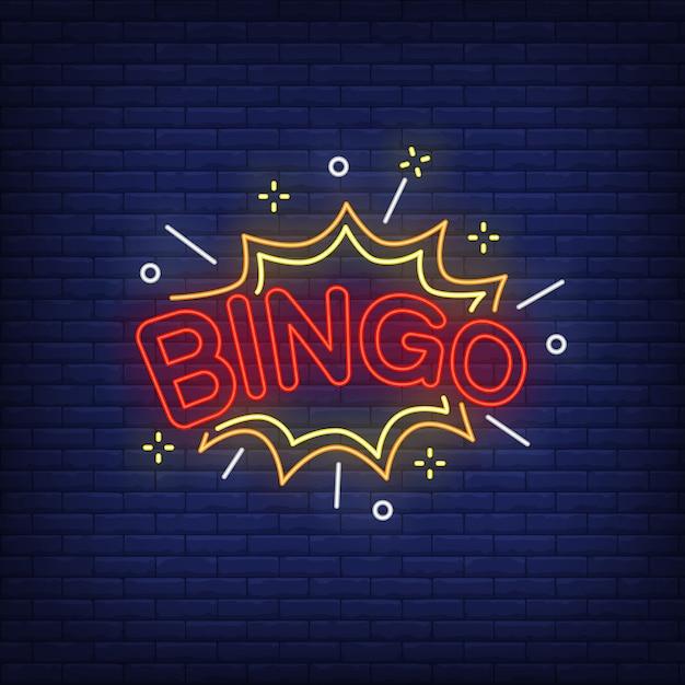 Bingo neon lettering and explosion Free Vector