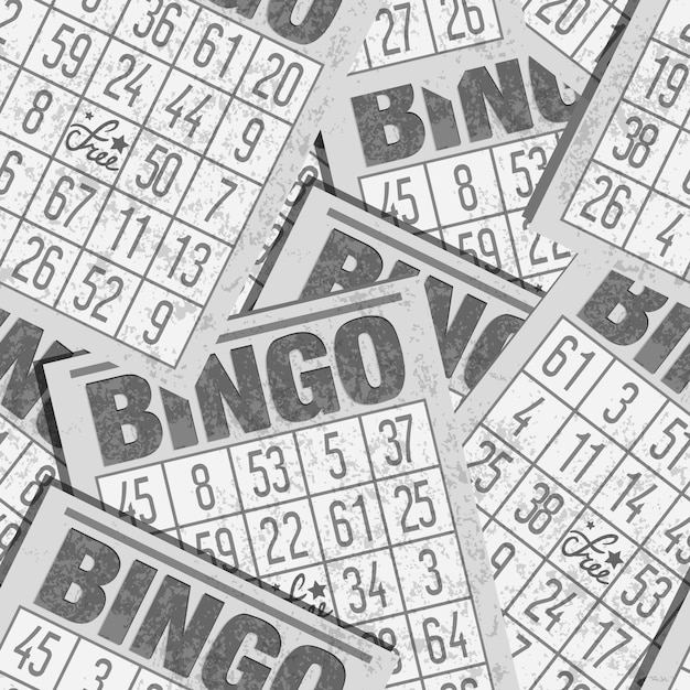 Bingo seamless retro background with cards Premium Vector