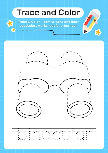 Premium Vector Binocular Trace And Color Preschool Worksheet Trace For  Kids For Practicing Fine Motor Skills
