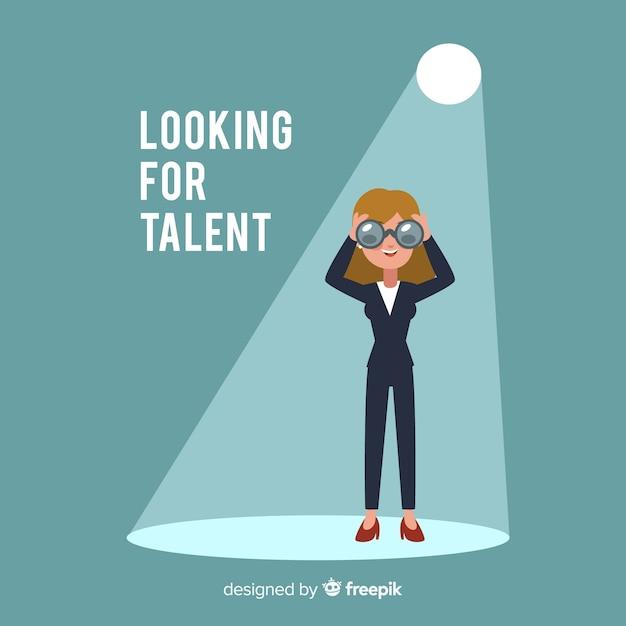 Binocular woman looking talent background Free Vector