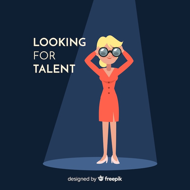 Binocular woman looking talent background Free Vector