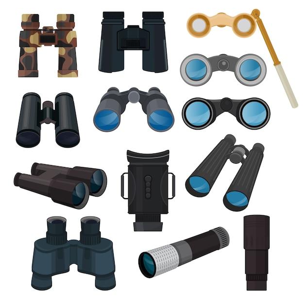 Binoculars set Premium Vector