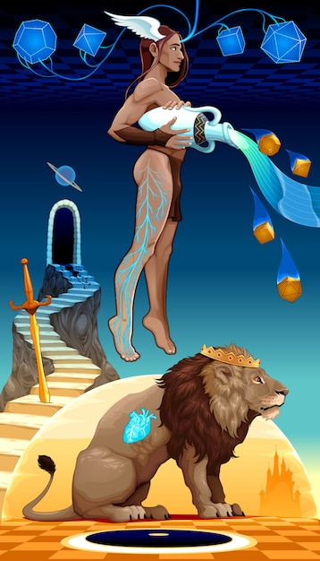 Binomial leo aquarius, two zodiacal opposites. Premium Vector