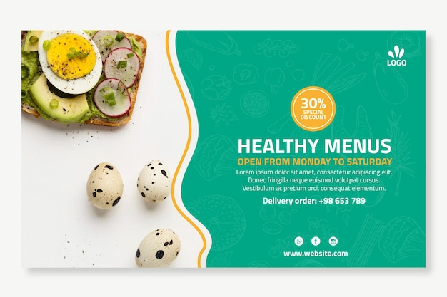 Шаблон баннера био и здорового питания Бесплатные векторы