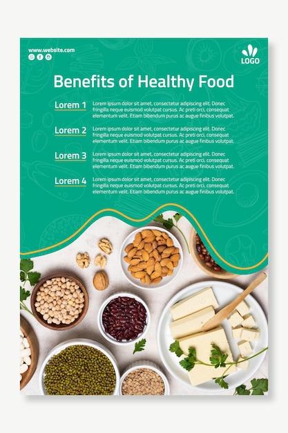 Шаблон плаката био и здорового питания Бесплатные векторы