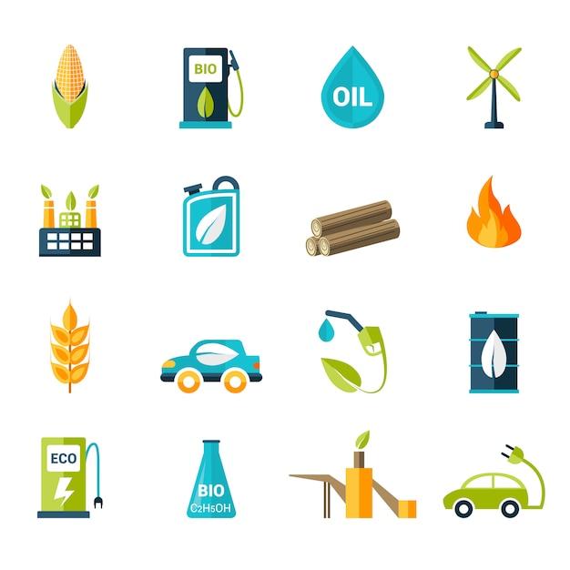 Bio fuel icons set Free Vector
