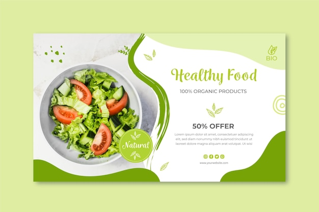 Bio and healthy food banner Free Vector