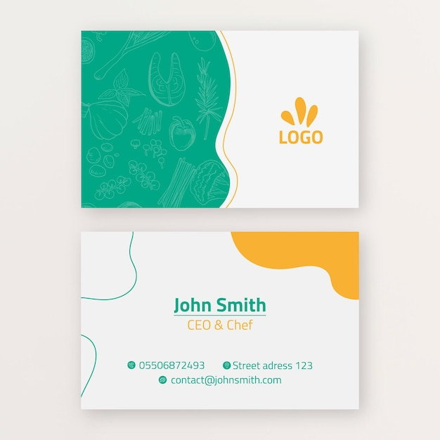 Bio and healthy food business card template Free Vector