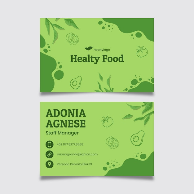 Bio and healthy food business card Premium Vector