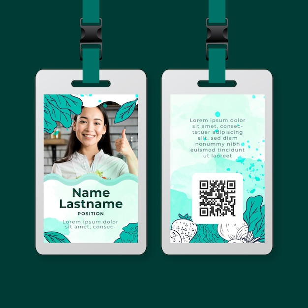 Bio and healthy food id card template Free Vector