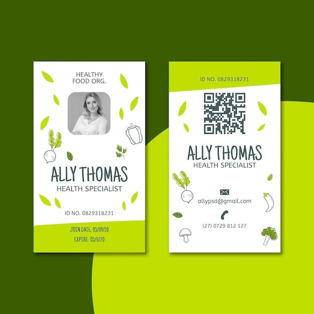 Bio & healthy food id card Free Vector