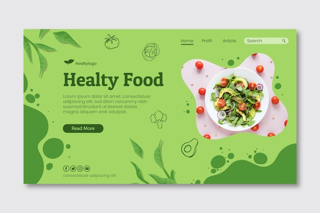 Bio and healthy food landing page template Free Vector