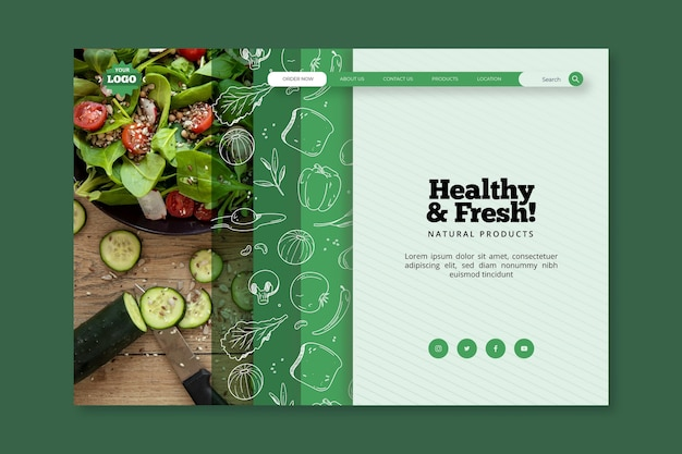 Bio and healthy food landing page template Premium Vector