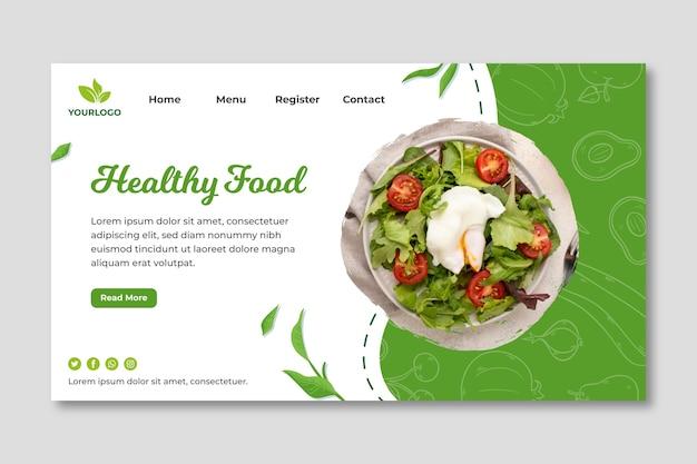 Pagina di destinazione di alimenti biologici e sani Vettore gratuito