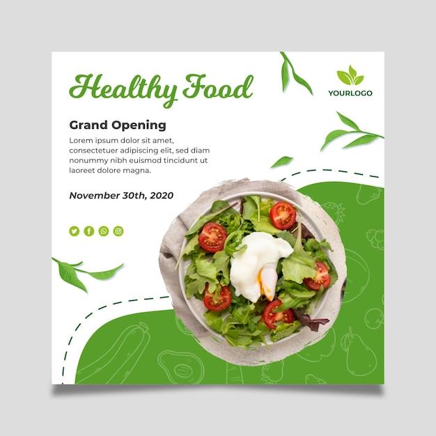 Modello di volantino quadrato di cibo biologico e sano Vettore gratuito