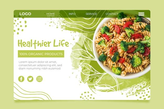 Bio and healthy foodlanding page Free Vector
