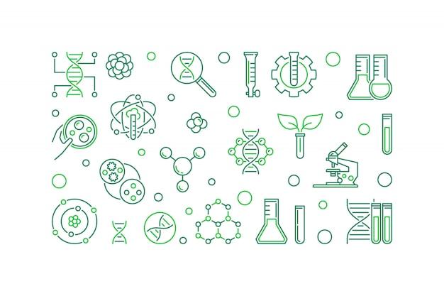 Bioengineering  line banner. biotechnology illustration Premium Vector