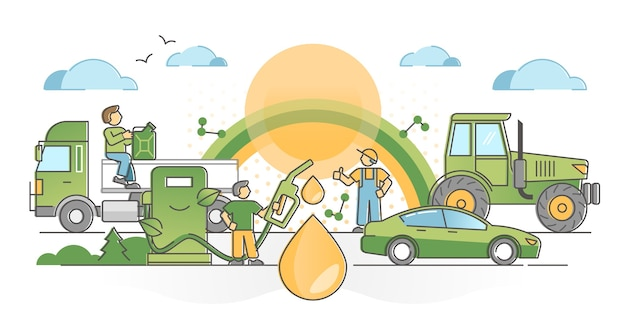 Потребление биотоплива как концепция экологически чистого, без выбросов и экологически чистого альтернативного топлива. отрасль возобновляемых ресурсов с иллюстрацией насосной станции для экологически чистого транспорта. Premium векторы