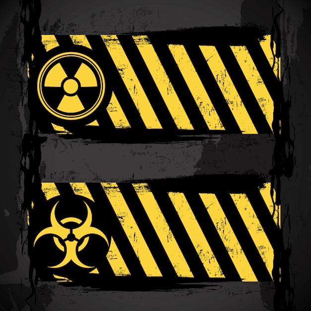 Biohazard signs over black background vector illustration Premium Vector