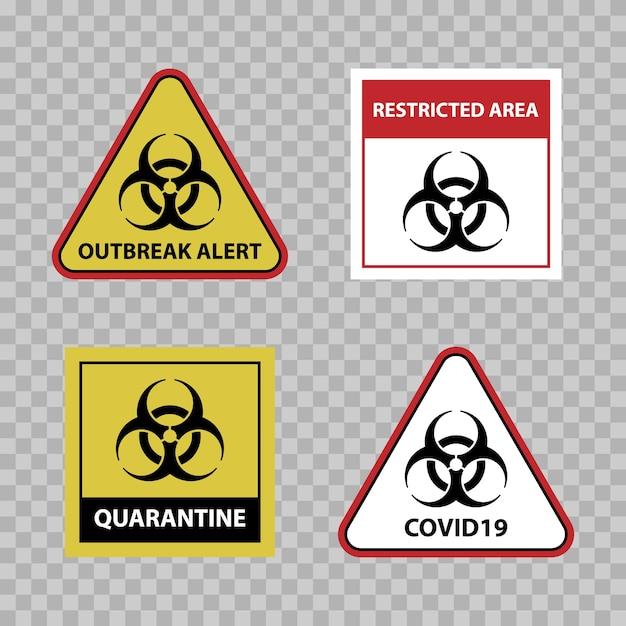 バイオハザード警告サイン、covid19発生警告サイン Premiumベクター