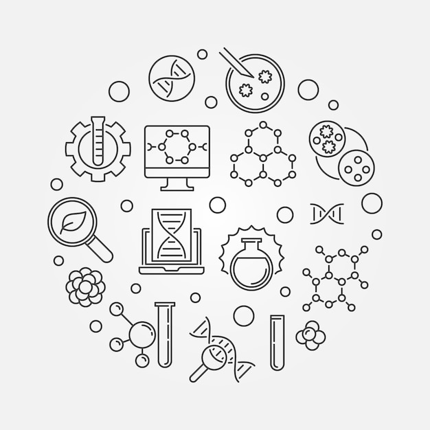 Biological engineering vector round minimal illustration in thin line style Premium Vector
