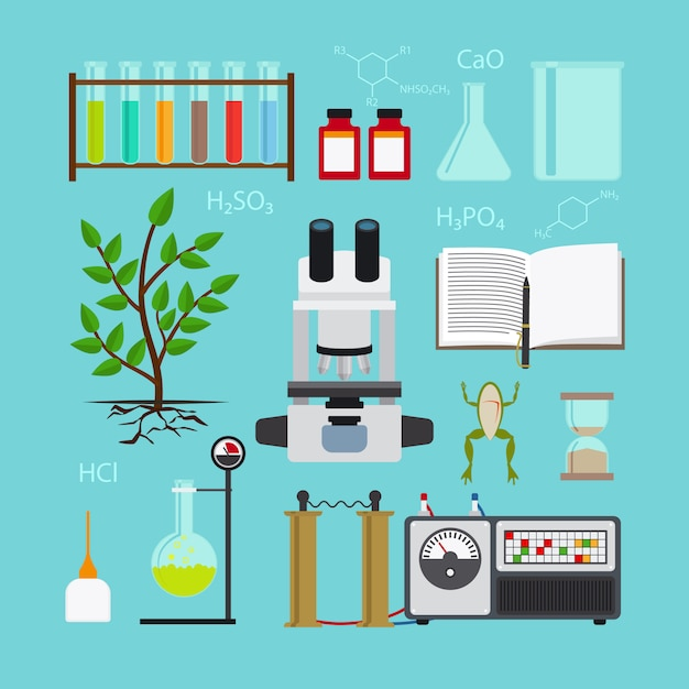 Biology and chemical laboratory icons Premium Vector