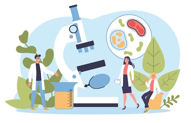 Биология науки. люди с микроскопом делают лабораторный анализ. идея воспитания и эксперимента. Premium векторы