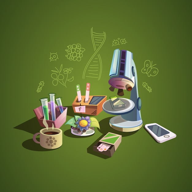 Biology concept with retro science cartoon icons set Free Vector
