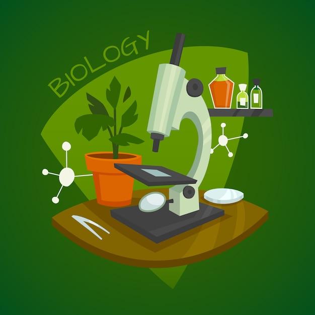 Biology laboratory workspace design concept Free Vector