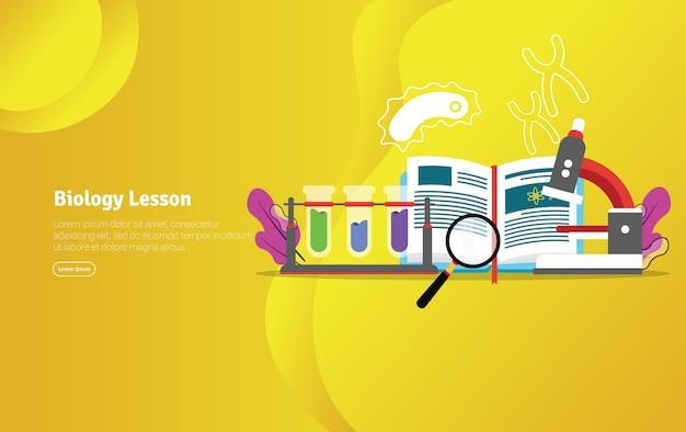 Biology lesson concept scientific illustration banner Premium Vector