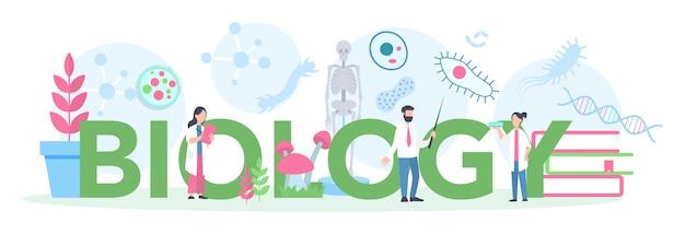 Концепция заголовка школьного предмета биологии. ученый, исследующий человека и природу. урок анатомии и ботаники. идея воспитания и эксперимента. Premium векторы