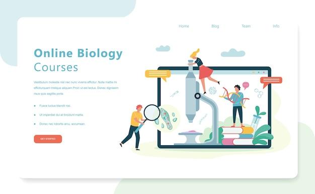 Концепция науки биологии. люди с микроскопом Premium векторы