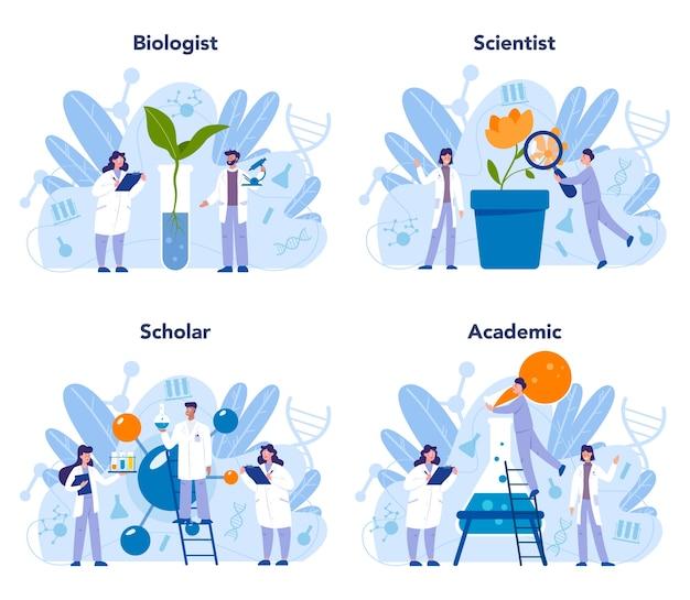 Набор концепций науки биологии Premium векторы