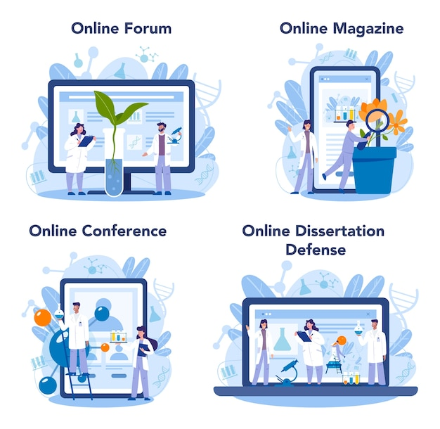 生物科学のオンラインサービスまたはプラットフォームセット Premiumベクター