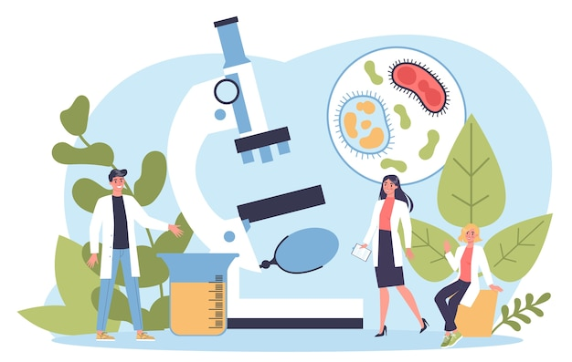 生物学科学。顕微鏡を持つ人々は実験室分析を行います。教育と実験のアイデア。 Premiumベクター