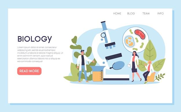 生物科学のwebバナーまたはランディングページ。顕微鏡を持っている人は実験室で分析します。教育と実験のアイデア。 Premiumベクター