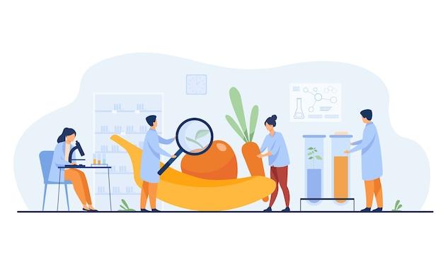 Ученые-биологи проводят исследования фруктов. люди выращивают растения в лаборатории. векторная иллюстрация для продуктов питания гмо, сельского хозяйства, науки концепции Бесплатные векторы