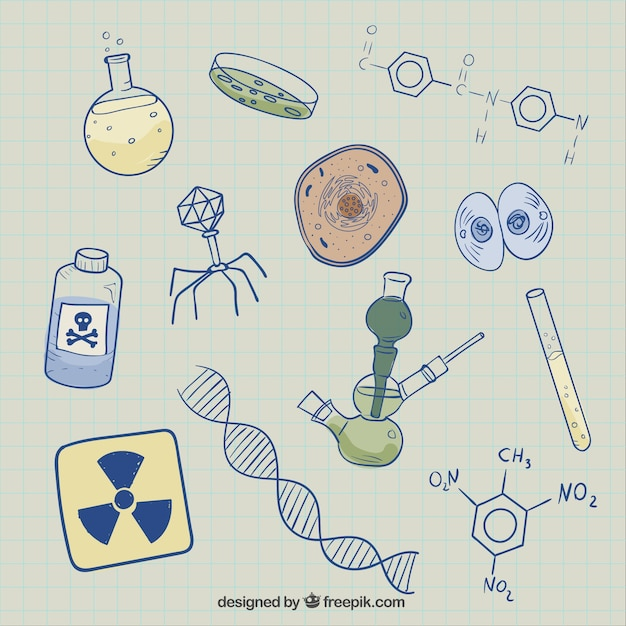 Biology sketches background Free Vector