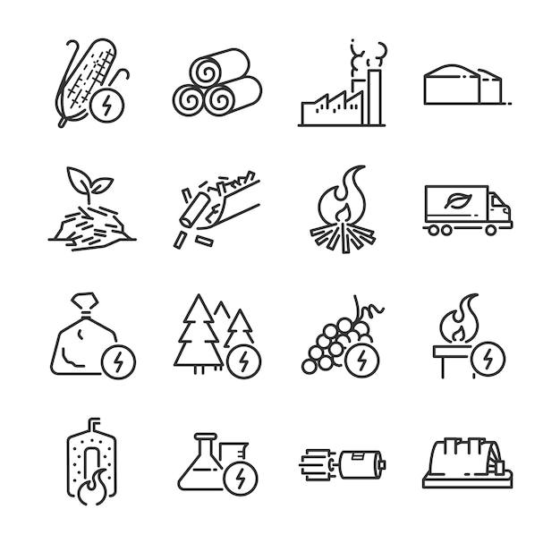 Biomass line icon set. Premium Vector