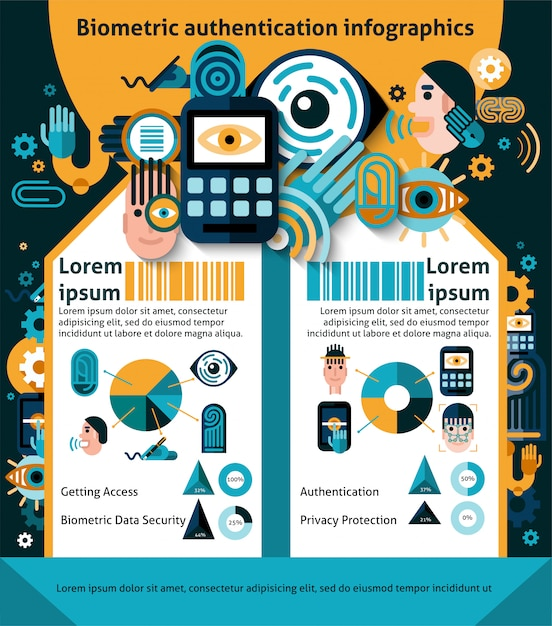 Biometric authentication infographics Free Vector