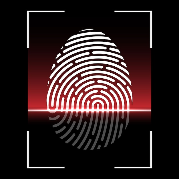 Biometric fingerprint scan, identification system Premium Vector