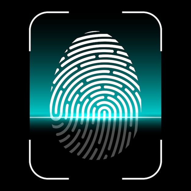 Biometric fingerprint scan, identification system Premium Vector