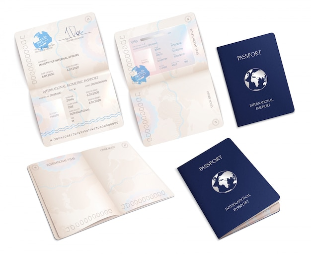 Biometric international passport mockups in open and close forms realistic set isolated Free Vector