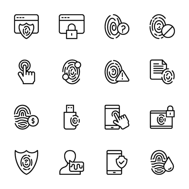 Biometric line icons set Premium Vector
