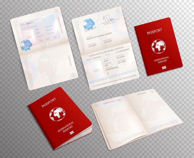 Realistico passaporto biometrico impostato su trasparente con modelli di documenti aperti su fogli diversi Vettore gratuito