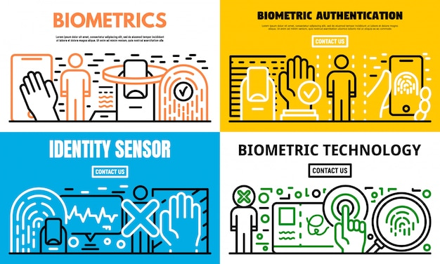 Biometric recognition banner set, outline style Premium Vector