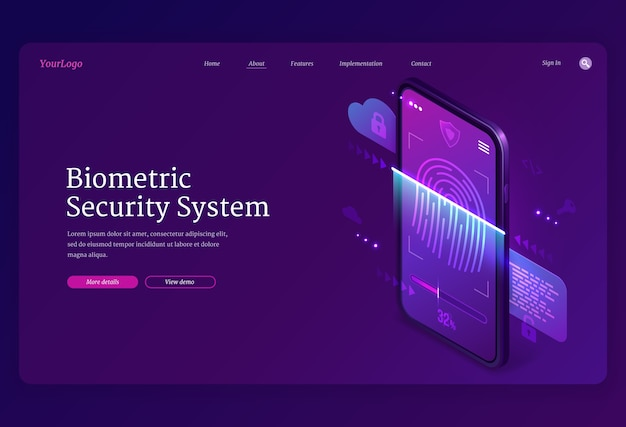 Biometric security system isometric landing page. personal data protection, online access on smartphone screen with fingerprint and lock, user account verification and privacy, 3d web banner Free Vector