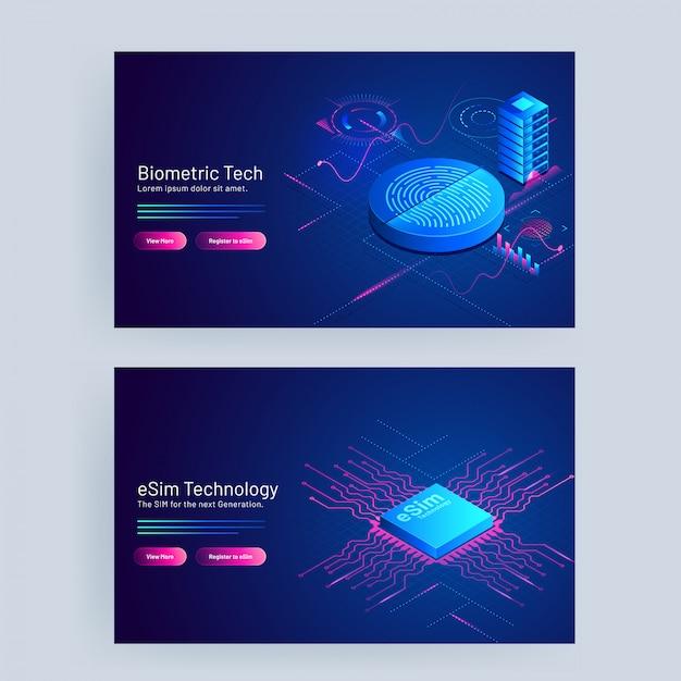 Biometric tech and esim technology concept based web banner design. Premium Vector