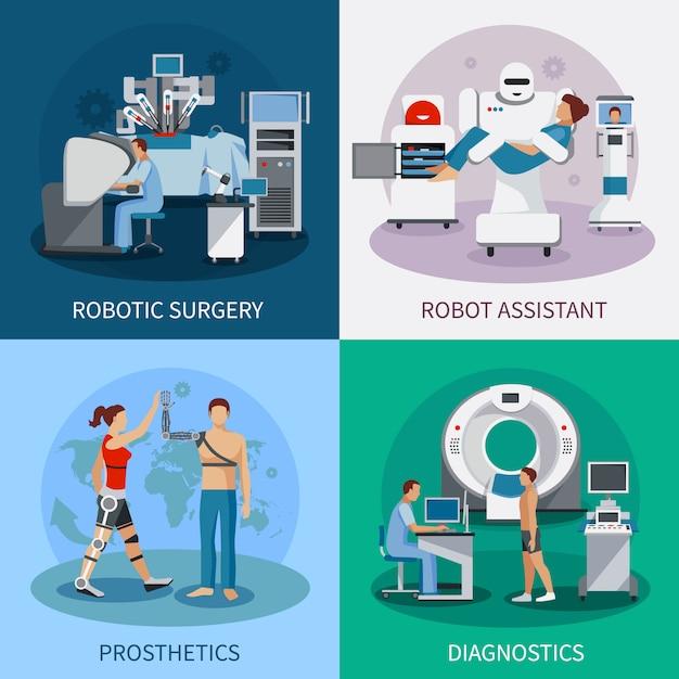 Bionic 2x2 design concept with robotic surgery  diagnostic equipment orthopedic prosthetics composit Free Vector