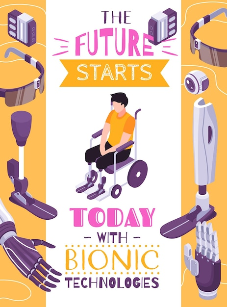 Bionic prosthesis concept isometric composition poster with robotic limbs for specific activities brain controlled eye Free Vector